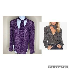 Cloth&Stone purple spotted tie neck blouse